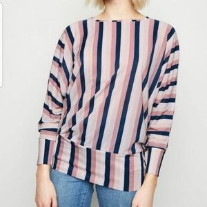 Tart Navy/Gray Striped Off The Shoulder Top L
